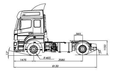 Седельный тягач КАМАЗ-5490 - габариты