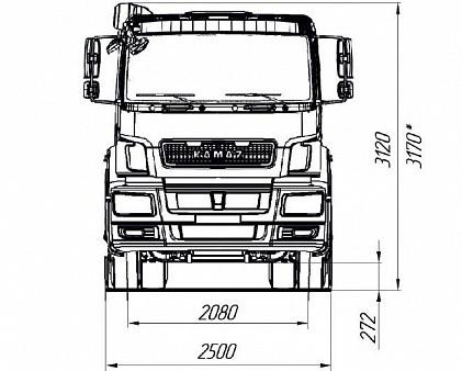 Седельный тягач КАМАЗ-65806 - габариты