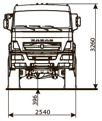 Седельный тягач КАМАЗ-65221 - габариты