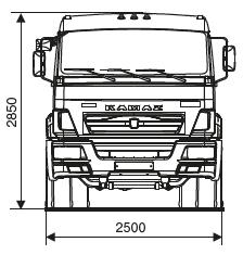 Седельный тягач КАМАЗ-65116 - габариты