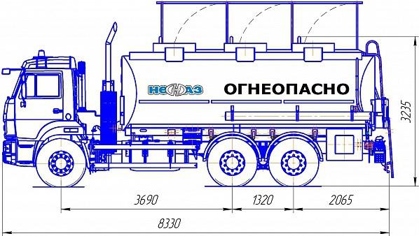 Автотопливозаправщик НЕФАЗ-66052 - габариты