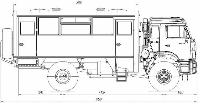 Вахтовый автобус НЕФАЗ-42111М - габариты