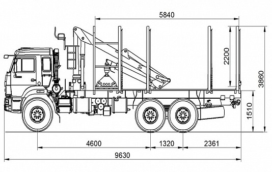 Сортиментовоз КАМАЗ 693352 - габариты