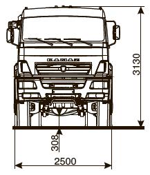 Шасси КАМАЗ-65225-43 - габариты