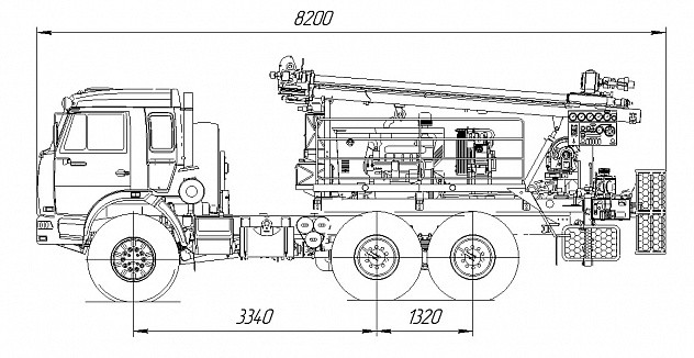 Буровая установка ПБУ-2 на шасси КАМАЗ-5350 - габариты