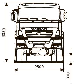 Шасси КАМАЗ-65111-42 - габариты