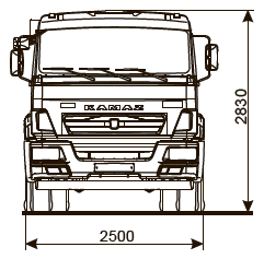 Шасси КАМАЗ-43255-R4 - габариты